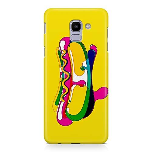 ItalianCaseDesign Cover Custodia Protettiva Case Hot Dog Cibo Panino Disegno Pennello Acqua Stile Compatibile con Samsung J6 - Samsung J6 Plus (Seleziona Modello)