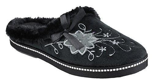 Mirak Ladies Dijon Faux Fur Accented Textile Stitch Slipper Black Flower Noir