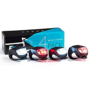 Bike Lights Front and Back - Bike Lights Set of Four - Bright Bicycle Lights Front Rear with Waterproof Silicone Housing - Compact & Easy to Install Cycling Lights for Mountain Roads and Night Cycling - Brighter than Lights on Helmet & Wheels Accessories