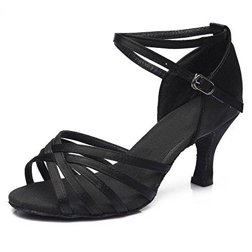 YFF Donna Tango/sala da ballo/ballo latino scarpe da ballo salsa con tacco Professional scarpe da ballo per ragazze Ladies 5cm/7cm 7cm heels Black