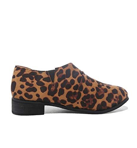 HupoopDamen Damen Leopard Solid Plissee Knöchel Runde Zehe Sandalen Einzelne Freizeitschuhe(Gelb,42) -