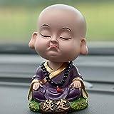 GZXYYY Creativo scuotendo la Testa Auto Ornamenti Bambole di Cartone Animato Piccolo Monaco Statue di Buddha Maitreya all'Interno degli Accessori Auto Auto, S