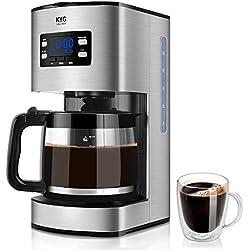 KYG Cafetera Goteo Máquina de Café con Temporizador Cafetera de Filtro Reutilizable y Función de Mantener Caliente Jarra de 1,80 litros Acero Inoxidable 1000W