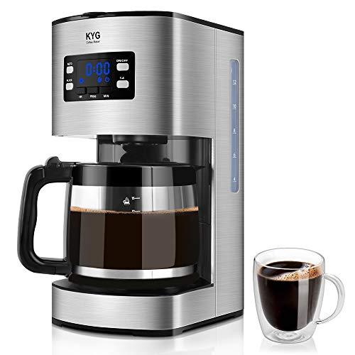 KYG Macchina Caffè KYG Macchina Caffè Americano Elettrica Programmabile con Display LCD 1,8 litri Capacità fino a 15 tazze Macchina da Caffè 1000W con Timer e Funzione di Manutenzione a Caldo