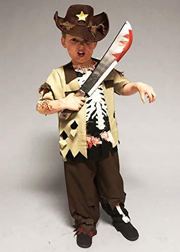 8in1 Kindergröße Halloween Zombie Sheriff Boy Kostüm Small -