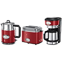 Russell Hobbs–Juego de desayuno de 3piezas Cafetera Eléctrica + Hervidor de agua + Tostadora Retro Ribbon Red Serie en rojo/acero inoxidable
