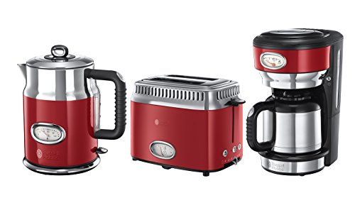 Russell Hobbs Frühstück-Set 3-tlg. Kaffeemaschine + Wasserkocher + Toaster Retro Ribbon Red Serie in rot/Edelstahl