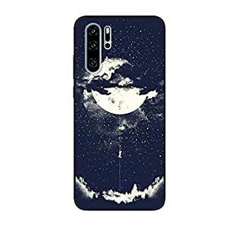 Aksuo for Huawei P30 Pro Black Case, Women Girls boy Men Printed Black Design Plastic Case with TPU Bumper Protective Cover, Climb The Moon