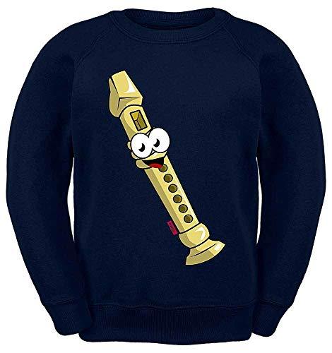 HARIZ Kinder Sweater Flöte Lachend Instrument Kind Witizg Plus Geschenkkarten Navy Blau 128/7-8 Jahre (Flöte Instrument Kostüm)