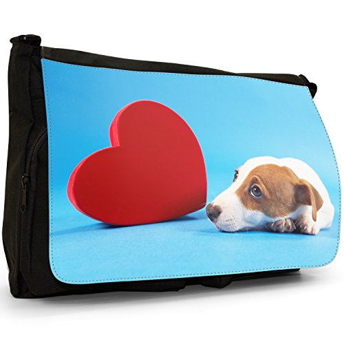 Jack Russell Terrier cane grande borsa a tracolla Messenger Tela Nera, scuola/Borsa Per Laptop Jack Russell Dog With Heart