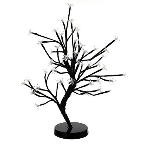 Árbol de cerezo decorativo Árbol de cerezo claro Árbol de mesa de luz Bonsai Escritorio operado con batería para la decoración casera de la boda (blanco cálido)