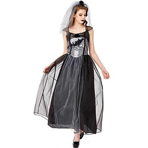 Womens Beängstigend Hexe Kostüm - GWNJSSX Halloween Ghostly Bride Hochzeit Spitzenkleid,Evil