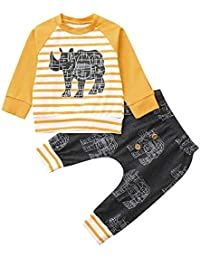 Zerototens 2Pcs Unisex Baby Clothes Set,1-6 Years Old Toddler Kids Boys Girls Solid Button Long Sleeve Crewneck T-Shirt Tops Leggings Trousers Outfits Set Pajamas Blue