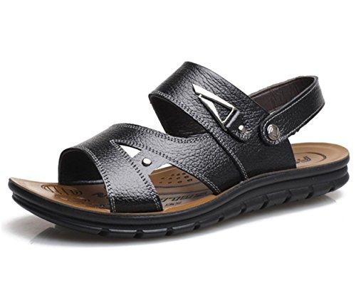 YCMDM Chaussures pour hommes Sandales en cuir Outdoor Athletic Casual Flat Heel Hollow-out Black / Brown Black