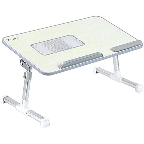 Totalmente ajustable Mesa portátil Panel MDF   Ordenador portátil Notebook soporte con una función de ventilador de refrigeración   XGear premium Altura ajustable plegable Bandeja Lap Desk (gris)