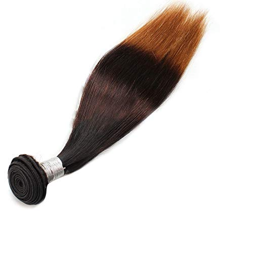 ERSD 9A Brasilianisches Haar Bundles Kinkys Curly Echthaar Extensions - T1B / 4/27 3 Töne Farbe Rollenspiel Perücken Frauen natürliche Perücken (Farbe : Braun, Size : 14 inch) -