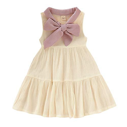 Kleid Damen Sommer Dresses for Girls Pwtchenty Bogen Patchwork Prinzessin Kleid Mädchen Baby Sommerkleid Freizeitkleider Kleider Kleidung