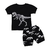 erthome Baby Boy Clothes Sets, 1-7 Years Newborn Toddler Summer Baby Boy Pajamas Cartoon Dinosaur Print Tops T-Shirt Shorts Pants Outfits Set