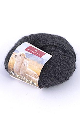 Baby-Alpaka Wolle 5er-Pack REGULAR 5x50g 100m Nadel 4 Strick-Häkel-Garn APU KUNTUR anthrazit dunkel-grau