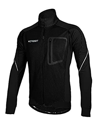 iCreat Herren Jacke Air Jacket Winddichte Wasserdichte Lauf- Fahrradjacke MTB Mountainbike Jacket Visible reflektierend, Fleece Warm Jacket für Herbst, Gr.S bis XXL