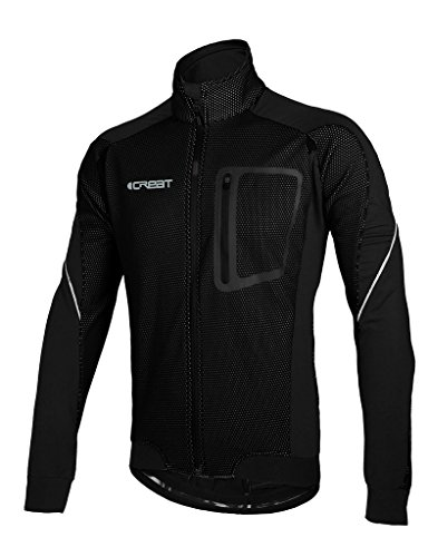 falke achilles iCreat Herren Jacke Air Jacket Winddichte Lauf- Fahrradjacke MTB Mountainbike Jacket Visible reflektierend, Fleece Warm Jacket für Herbst, Schwarz Gr.XL