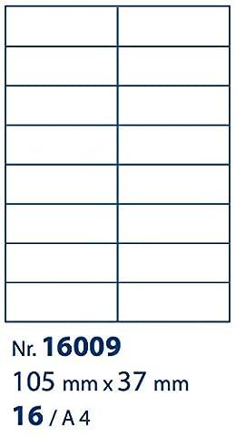 ACROPAQ LABELS - 100 feuilles format A4, 16 étiquettes (105x37mm) par feuille A4 = 1600 étiquettes adhésives blanches pour impression jet d'encre, laser, photocopieur