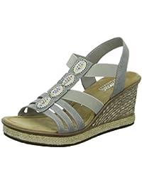 Rieker Damen 68971 Geschlossene Sandalen mit Keilabsatz
