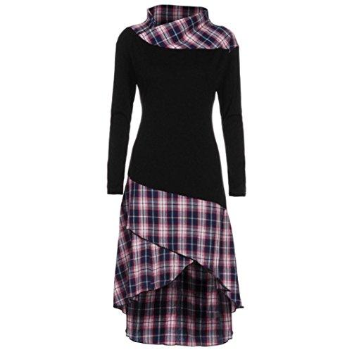 Lucky mall Frauen High Neck Plaid Muster Patchwork Kleid Langarm-Herbstkleid, Plaid Langarm-Kleid...