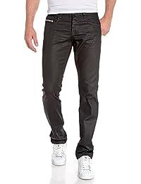 BLZ jeans - Jean fashion homme noir huilé coupe droite