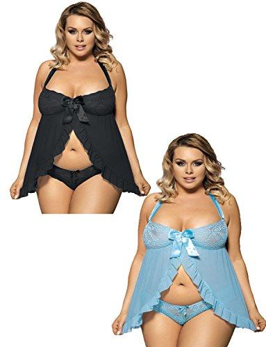 Yummy Bee Dessous Babydoll Kleid Set Spitzenhöschen Satin Größe 36 - 52 Blau