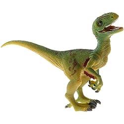 B Blesiya Juguete de Dinosaurio Realista Figura de Criaturas Prehistóricas en Miniatura Animal de Simulación Artesanía Decorativa de Hogar - velociraptor gris