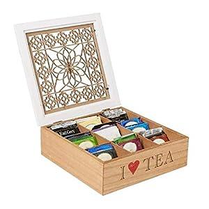 Loveinwinter 9 Boîte À Thé Compartiment,Boîte d'emballage en Bois Solide De Boîte De Stockage De Boîte-Cadeau en Bois, Boîte De Stockage De Café