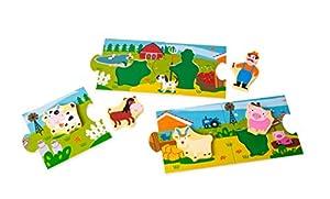 Small Foot 10626storypuzzle Granja de Madera Pintada, Hecho de Cinco Grandes, de Piezas de Puzzle Integrado Set-Puzzle, estimula la imaginación y Desarrollo lingüístico y promueve la motricidad