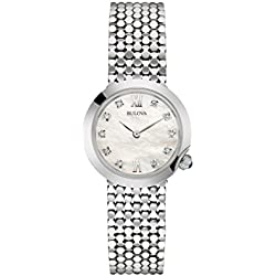 Bulova Ladies Women's Designer Diamond Watch Bracelet - Stainless Steel Wrist Watch 96S163