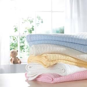 Izziwotnot Cellular Blanket, White, Moses/Crib/Pram