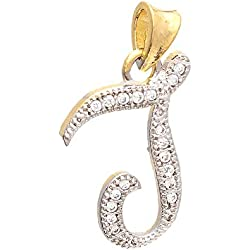 Zcarina Gold Plated 'J' Letter American Diamond Pendant Locket Alphabet For Men and Women With Chain