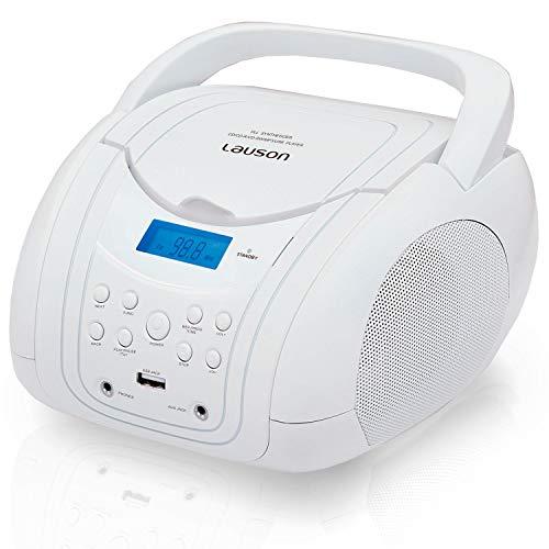 LAUSON CP454 Boombox CD Player für Kinder - USB - Tragbar - UKW Radio - Kopfhöreranschluss (weiß)