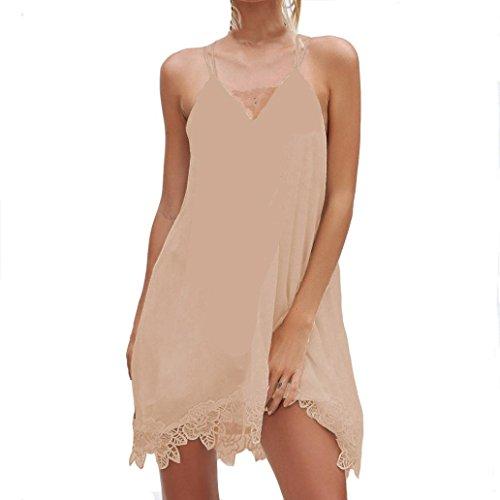 Kleid damen Kolylong Frauen Elegant V-Ausschnitt Ärmelloses Spitze Kleid Festlich Chiffon...
