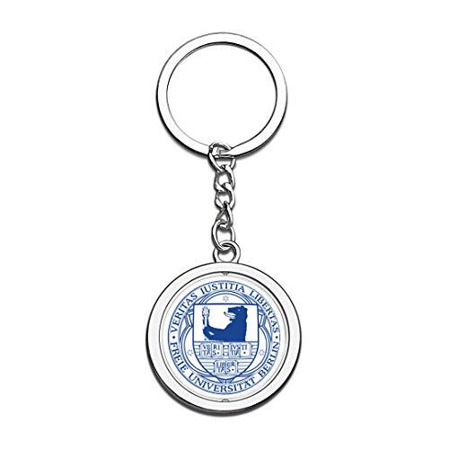 Universität Berlin Abzeichen Schlüsselbund 3D Kristall Kreative Spinning Runde Edelstahl Schlüsselanhänger Souvenir Schlüsselanhänger Ring ()