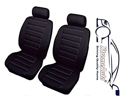 XtremeAuto® Bloomsbury black front Leather Look Car Seat Covers Complete with Sticker
