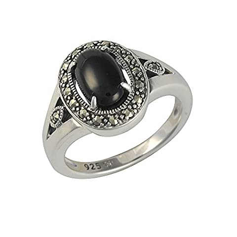 Esse Marcasite Sterling Silver Oval Cabochon Black Onyx and Marcasite Art Deco Ring - Size O
