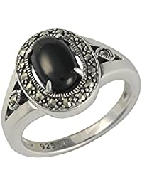 Esse Marcasite anillos Mujer plata 9 k (375) ónix
