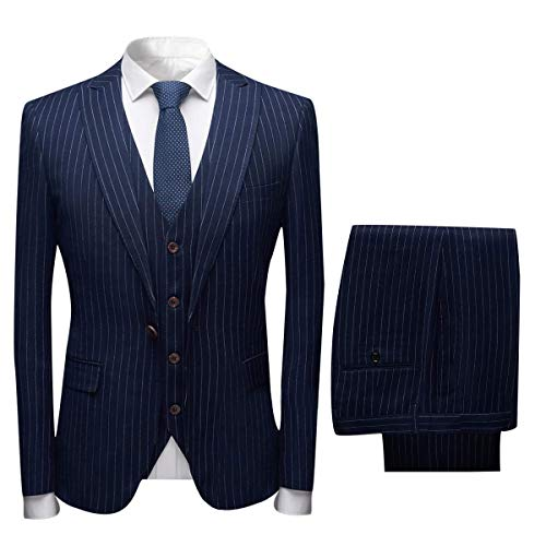 CALVINSUIT Herren Nadelstreifen 3 Stück Anzug Slim Fit Einreiher Business Hochzeitsfest Jacke Weste Hosen Set -
