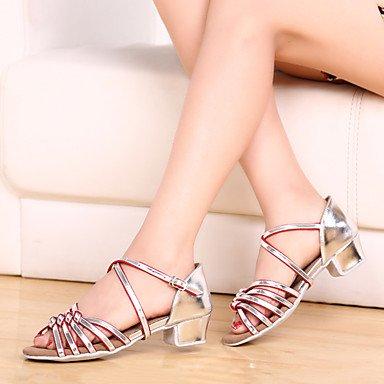 Frauen Tanzschuhe Leder Leder Latein / Modern Sneakers Chunky Ferse Praxis Silver