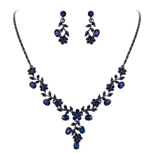 Ever Faith Damen Schmuckset österreichische Kristall Hochzeits Blatt Weinlese Halsketten Ohrringe Schmuck Set Blau Schwarz-Ton (Rot Halskette Und Blau)