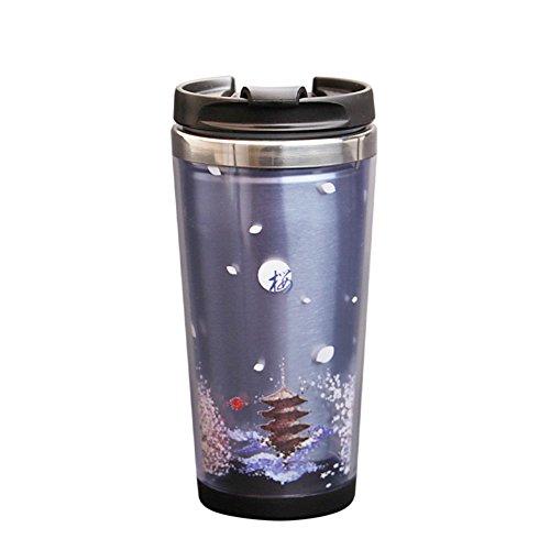 Taza de café doble con tapa/ acompañado de acero inoxidable taza/ pareja creativa Copa-B