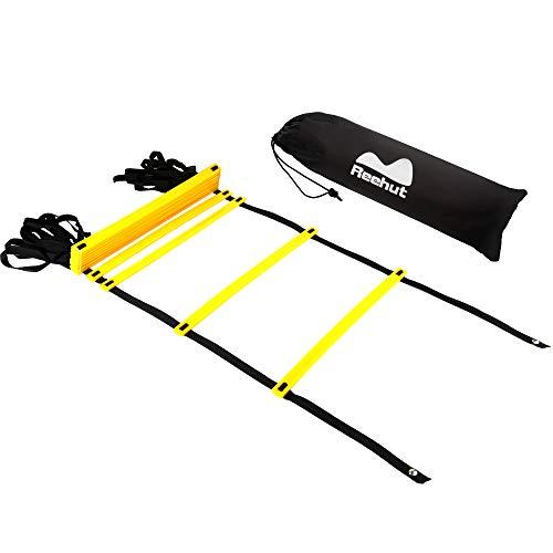 Reehut Koordinationsleiter w Tragetasche - Geschwindigkeitstraining Ausrüstung Für Hohe Intensität Fußarbeit (Gelb,12 Sprosse)