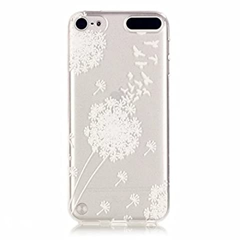 MUTOUREN iPod Touch 5/Touch 6 case cover Mobile phone protective cover TPU silicone transparent clear thin silicone anti scratch bag case with simple patterns- White Dandelion