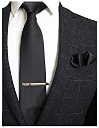 860983e3c581 RBOCOTT Solid Color Tie and Pocket Square, Tie Clip Set for Men