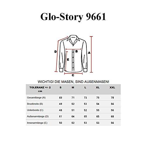 BOLF Langarm Herrenhemd Hemd Figurbetont Freizeit Slim Fit GLO-STORY 9661 Weiß